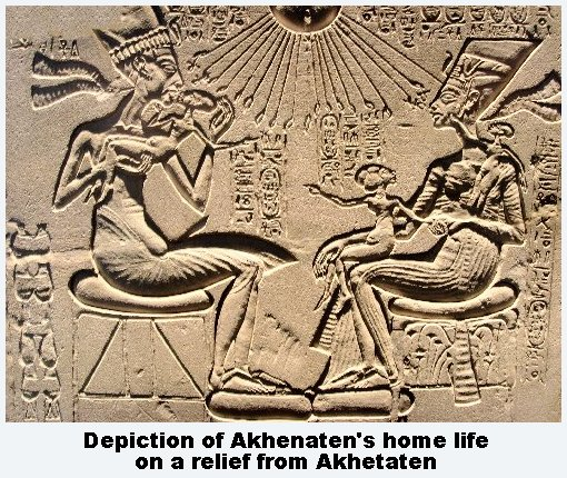 Akhenaten Nefertiti and daughters at home